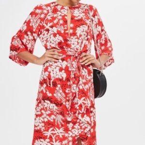 Topshop Dress maxi red leaf print Kimono look